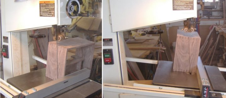Cutting a Writing Slope apart with a Band Saw
