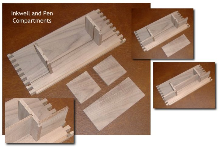 Inkwell and Pen Compartments
